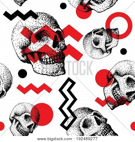 Hand made human skull bone cranium face retro grunge vintage seamless pattern backound. Skulls faces vector illustration halloween horror style tattoo anatomy art. Graphic sketch spooky vintage sign.