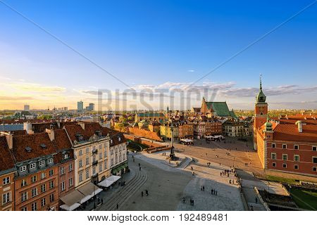 Top view of the old city in Warsaw
