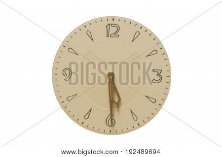The image of the clock face and hands at half past five. Illustration of the idiomatic expression to hang on half past five - the designation of male impotence.