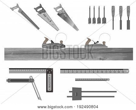 set of tools for working with wood. has a plane, hacksaw, chisel, ruler, square, drill bits , nail.