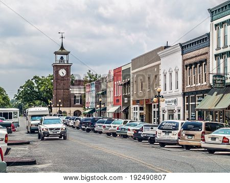 GEORGETOWN SOUTH CAROLINA - JULY 23 - A view looking down Front Street with shops and the old clock tower on July 23 2008 in South Carolina.
