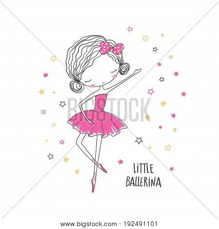 Little ballerina. T-shirt graphic for kid's clothing. Use for print design surface design fashion kids wear