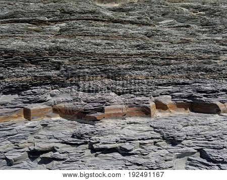 Grey shale cliff background or texture.