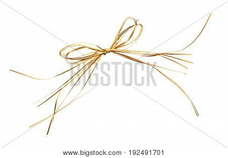 Beige raffia bow isolated on a white background