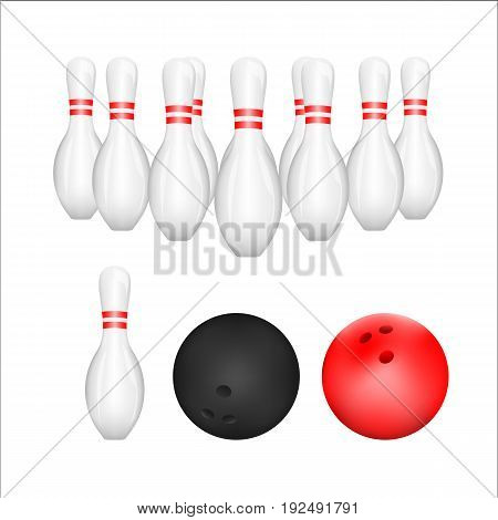 Isolated of Bowling ball and Bowling Pin with white background. vector . illustration. graphic design.