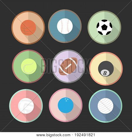 Icons set of sport ball in the circle area with black tone background. Flat graphic. vector. illustration. graphic design.