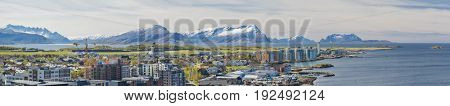 Aerial View, Panorama of Norwegian City Bodo - Norway.