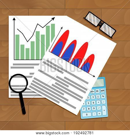 Calculate business growth forecast. Vector forecast business analysis illustration of forecast finance business plan