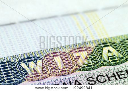 Close up of visa in passport. Poland of shengen travel concept.
