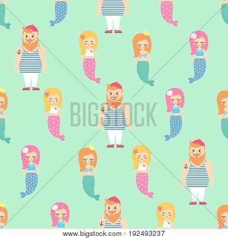 Mermaids girls with sailor seamless pattern on mint green background. Vector sea background for kids. Child drawing style cartoon underwater illustration. Cute design for fabric, textile, decor
