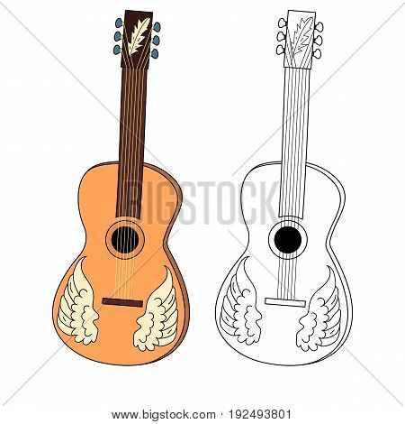 Acoustic guitar. Two musical instrument: color and black and white. Vector isolated image. Handwriting style. Icon. For posters, mobile apps, print projects.