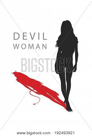 A woman with a devil's tail. vector illustration