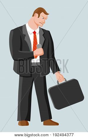 Strict harsh man with business case and mobile phone. Man with brown hair wearing business suit white shirt and red striped tie