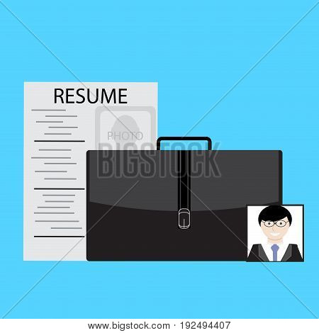 Job search resume and photo. Vector job interview illustration of job hunting and job seeker