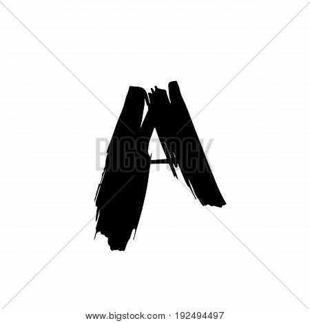 Letter A. Handwritten by dry brush. Rough strokes font. Vector illustration. Grunge style alphabet.