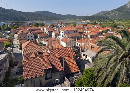 Town Ston on Peljesac peninsula in Croatia is known for oysters and salt productionn