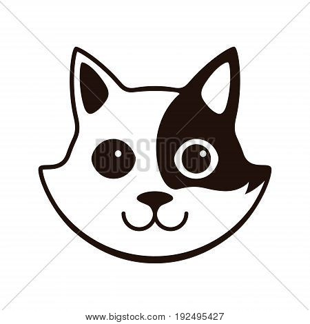 Cute Black And White Cat, Cartoon Flat Icon Design