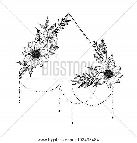 Hand Drawn Vector Illustration - Triangle With Flowers And Leaves. Floral Bouquet. Perfect For Invit