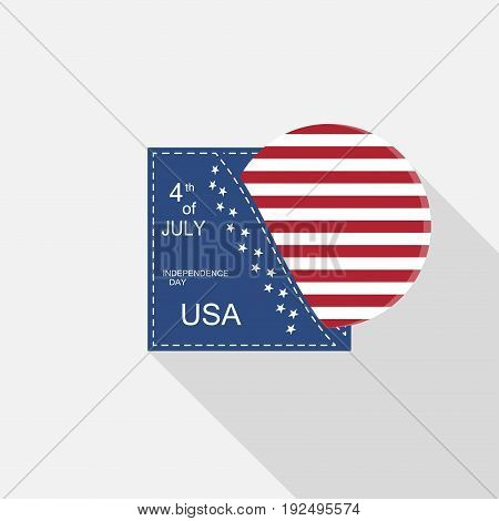 Vector flat web element for Independence Day with blue pocket round insert with american flag and long shadow on the light gray background.
