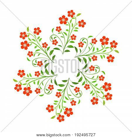 Swirl red flowers with green leavs on white background