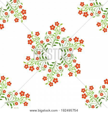 Swirl red flowers with green leaves on white background