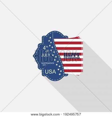 Vector flat label for Independence Day with blue pocket insert square with american flag text and long shadow on the light gray background.