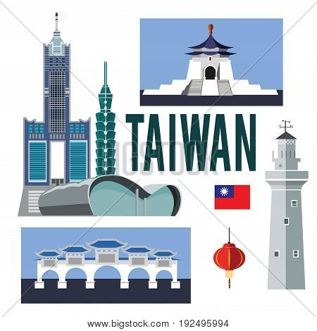 A collection of colorful illustrations on the colorless background.Set of cultural symbols sightseeing .Architecture of Taiwan.
