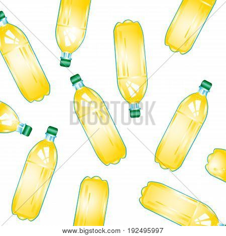 Much plastic bottles with juice on white background