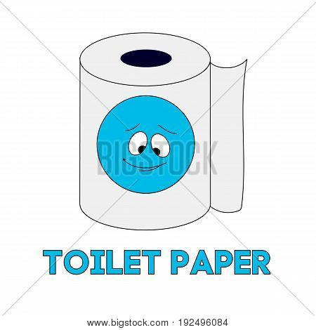 White toilet paper. Depicting a caricature of a blue face. Vector isolated image. Handwriting style. For print, icons and other web resources.