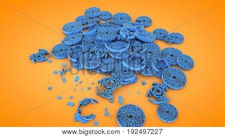 Circular destroyed labyrinth shapes 3D rendering illustration