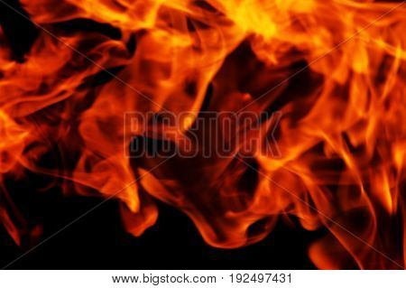 Flame Fire On Black Background, An Emergency Situation, A Fire.