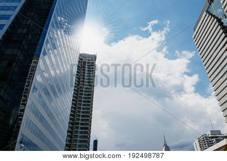 Public skywalk with Building architecture style modern business area in city in sunlight