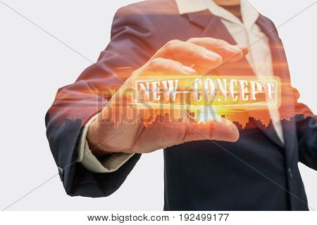 The hands of men who are catching new concept and idea with sunrise background