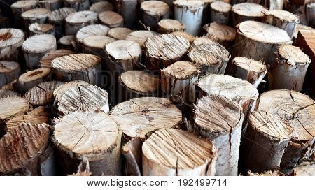 detail pile of old firewood for background