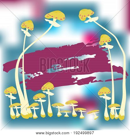 A postcard with a drawing of a fly agaric. Place for the text. Magic mushrooms . Flat style for web vector illustration