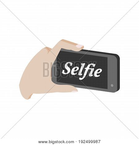 Taking Selfie Photo On Smartphone Symbol. Flat Isometric Icon Or Logo. 3D Style Pictogram For Web De