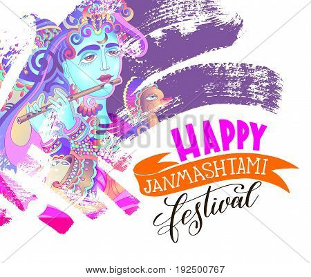 happy janmashtami festival artwork design to indian krishna birthday holiday, greeting card with god krishna who plays the flute and hand lettering text on brush stroke vector illustration