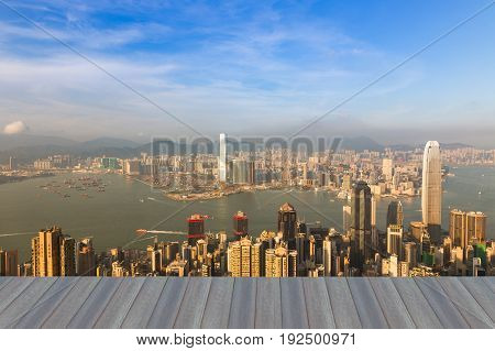 Opening wooden floor Hong Kong city business downtown skyline cityscape background