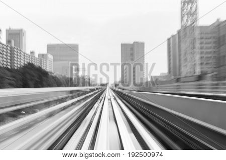 Black and White Moving train motion blurred transportation abstract background