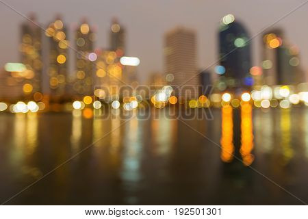 Abstract blurred bokeh light office building night view abstract background