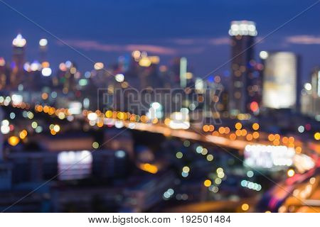 Twilight blurred bokeh city downtown light abstract background