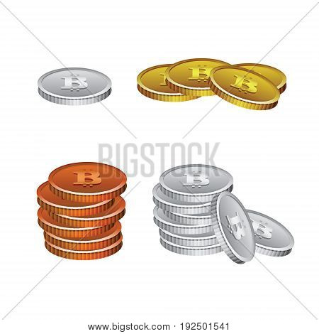 Set of realistic vector illustration on colorless background with bitcoin crypto currency.Pile of coins