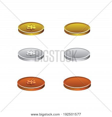Set of realistic coins of different colors goldsilverbronze wirh dollar symbol on the colorless background.Template coins