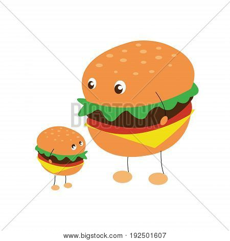 Vector illustration on colorless background with two characters of hamburgers