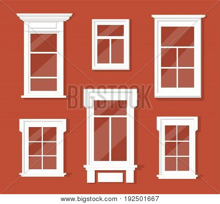 Collection of six vector vintage detailed windows types. Isolated on red background. Architecture details set.