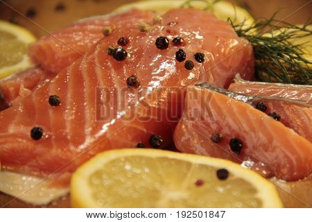 Fresh salmon lemon, Norwegian close-up, plate, omega