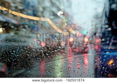 Traffic jam in rainy day traffic, rain, jam, windshield, car, water,