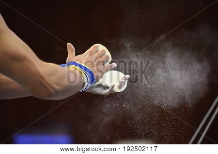 mens Artistic Gymnastics hands Close up Grips and Chalk. power gymnastic concept