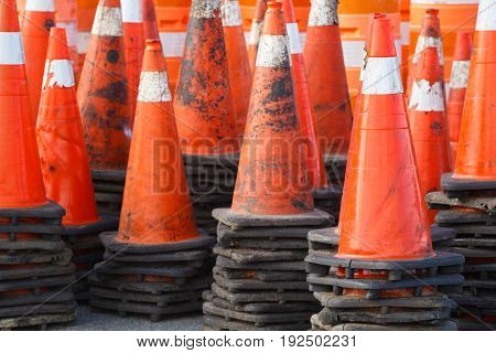 Stacked traffic or safety cones detail view