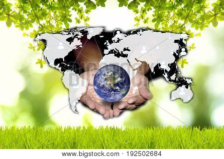 Social network can help the world to be green. Green and technology concept. Elements of this image furnished by NASA.